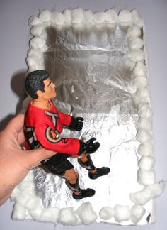 Make an ice rink out of aluminum foil & marshmallows!  Make An Ice Rink Craft     When it is cold and snowy outside, kids can make this ice rink craft for their action or fashion dolls to enjoy! Smaller dolls could have a game of ice hockey, perhaps?