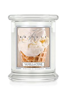 Kringle Candle - Vanilla Cone Medium  2 Wick -Like Vanilla? You will LOVE this - Buttery-rich, this vanilla adds a sweet gourmand note for extra depth and intrigue.