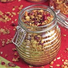 Cranberry Almond Granola.  From eatingwell.com.  Nutrition Facts: per serving 1/2 cup serving-   262 calories; 11 g fat ( 1 g sat , 6 g mono ); 0 mg cholesterol; 37 g carbohydrates; 7 g protein; 5 g fiber; 67 mg sodium; 229 mg potassium.