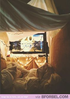 Winter Date Idea: Take movie night to a whole new level! Create a cozy fort in your living room and start a weekend-long marathon.