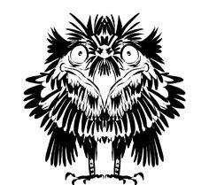 Puffy black&white bird