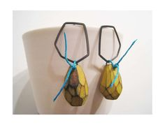 Cristina Zani Yellow painted faceted wood earrings with oxidised white metal and blue linen thread - Quercus Gallery