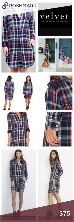"""Velvet By Graham & Spencer Plaid Shirt Dress. NWT. Velvet By Graham & Spencer Gabrielle Plaid Double Cloth Shirt Dress, 100% cotton, washable, 20"""" armpit to armpit (40"""" all around), 21"""" arm inseam, 40"""" length, double cloth soft woven cotton, single front and back pleat, stand collar, side pockets, two front buttoned flap pockets, side seam pockets, button cuff long sleeves, button tab shoulder, half button placket, rounded hem, unlined, measurements are approx.  NO TRADES Velvet Dresses Mini"""
