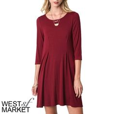 "-NEW ARRIVAL-  Burgundy Swing Dress The classic swing dress in a beautiful burgundy color, ready to throw on a look instantly chic. Three-quarter length sleeves top off the style on this wardrobe staple. Measurements: Small- size 2/4, bust: 35-36"", waist: 27-28"", hip: 36-37""; Medium: size 6/8, bust: 37-38"", waist:29-30"", hip: 38-39""; Large: 10/12, bust: 39-40"", waist: 31-32"", hip: 40-41"". West Market SF Dresses Midi"