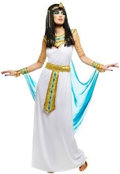 Enchant royal kings with this Queen Cleopatra Costume! Queen Cleopatra was known for mythical beauty and fashion sense. This Queen Cleopatra Costume highl Costume Halloween, Cleopatra Halloween, Halloween Fancy Dress, Adult Halloween, Couple Halloween, Cleopatra Dress, Queen Cleopatra, Cleopatra Costume, Dress Up Costumes