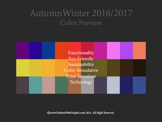 AW2016/2017 trend forecasting - color preview. I'm looking forward to all these bright colours!!