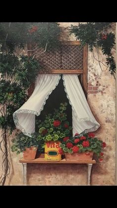 Floral Arrangements For Summer An In Depth Anaylsis On What Works And What Doesn't 343 - Pecansthomedecor Decoupage, Window View, Foto Art, Window Boxes, Painted Doors, Windows And Doors, Watercolor Art, Floral Arrangements, Abstract
