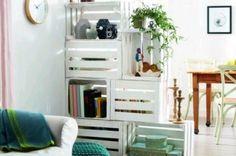 #Reciclando y #Decorando ~ stacked crates, secured, make an interesting room divider/ bookcase/ curio case.