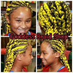Yellow Cornrows at Goddess Braid Shop. www.goddessbraidshop.com