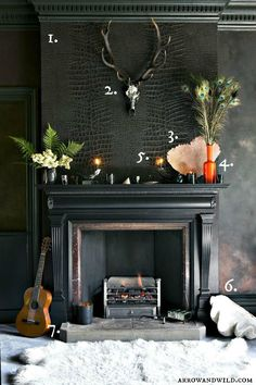 Get the look of this dark and broody room with this decor shopping list.   arrow-and-wild