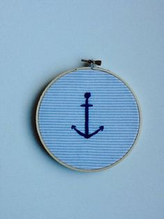 Anchor Embroidery Hoop Art by milkandbeetle on Etsy, $11.00