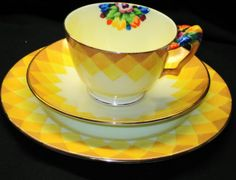 CROWN-STAFFORDSHIRE-FLOWER-HANDLE-TEA-CUP-AND-SAUCER-TRIO