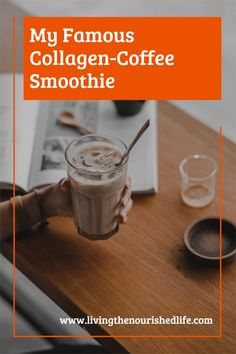 This coffee smoothie recipe is absolutely delicious. It's high in protein, boosts metabolism, helps your skin, hair, and nails; and it is the perfect filling breakfast (all on its own!). #coffeerecipe #collagenrecipes #breakfastsmoothies