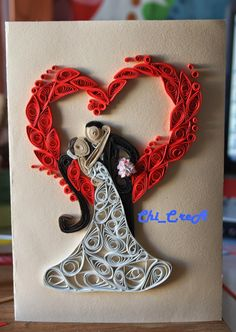 Quilling -Card Home Made- Quilled Paper Art Arte Quilling, Paper Quilling Jewelry, Quilled Paper Art, Paper Quilling Designs, Quilling Paper Craft, Quilling Flowers, Quilling Patterns, Quilling Ideas, Quiling Cards