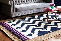 One Kings Lane - The Layered Look - Swami Pompom Dhurrie, Black/White -- LOVE THIS RUG