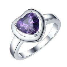 Сердце любовь фиолетовый циркон посеребренные Кольца Ювелирные Украшения Кольцо Женщины и Мужчины,/QZULLVUA UTTEGXEDкупить в магазине yinfen guo's storeнаAliExpress