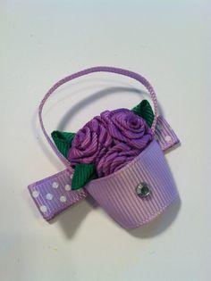 Purple Flower Bucket Clippie www.spillthebeansetc.com     hair, bow, band, clip, ribbon sculpture