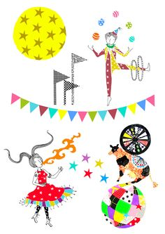 Unique wall sticker collection inspired by Circus characters and motifs ・Digitally printed onto clear vinyl・Size 40 cm x 30 cm (Set of 2 sheets)・Designed by Sas and Yosh & Printed in the Nutmeg Wall Art studio UK・Shipping worldwide from the UK. Circus Characters, Wall Decor, Wall Art, Wall Stickers, Prints, Inspiration, Design, Wall Hanging Decor, Wall Clings