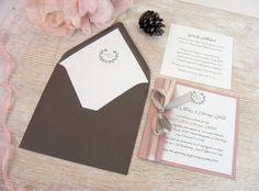 Zaproszenia ślubne szarość i róż z monogramem
