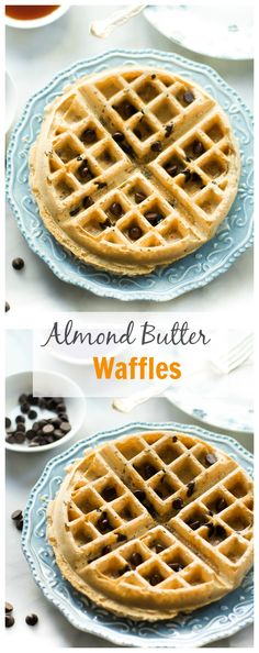 Almond Butter Waffles are made with almond butter and dark chocolate chips for a delicious and healthy weekend breakfast! primaverakitchen.com