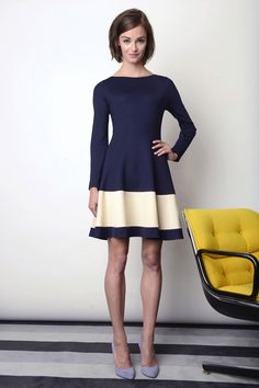 RESORT 2014 Lisa Perry #HauteCouture  Cute!  The simple shape in two colors, one a color block band in the skirt, is lovely.  The back to understated classic look is welcome and actually emphasizes the savvy dresser more than the fashion she is wearing.