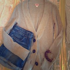 Oatmeal waffle knit cardigan Really cute waffle knit grandpa cardigan complete with wooden buttons and pockets! Great layering piece in very good condition. Medium weight material not too thick cotton blend. Mossimo Supply Co Sweaters Cardigans