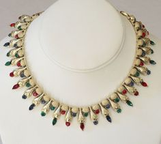 Coro Egyptian Rhinestone Jeweled Bib Necklace- Cleopatra would have proudly worn this!