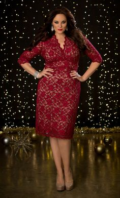 Our plus size Scalloped Boudoir Lace Dress is a Kiyonna staple and it's available in a beautiful bright red lace, so go on and wow them! Plus size