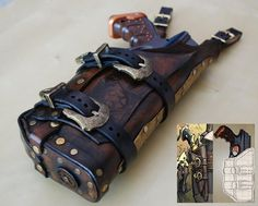 Steampunk holster for a nerf gun.