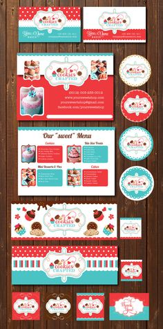 Cookies & Cupcakes branding marketing set - logo, flyer, business cards, facebook timeline and labels  - business branding starter pack
