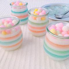 Cute Desserts, Sweets Recipes, Cute Food, Yummy Food, Kawaii Dessert, Jelly Cake, Dessert Cups, Japanese Sweets, How Sweet Eats