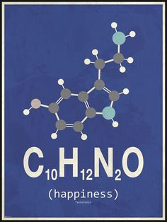 Blue and Grey Happiness Molecule Poster