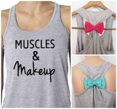 Muscles & Makeup Tank Top. Bow Tank Top. by GlamUpFitnessApparel, $27.95