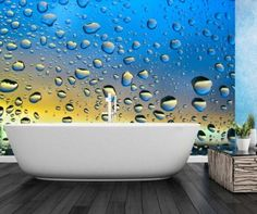 """by Finest Mural A very original wallpaper mural of raindrops.  Measures 12' wide by 8'  high.  This mural is made of 8 strips of 18"""" wide by 8'  high.  Prepasted, washable, dry strippable and reusable wallpaper mural. Hangs like wallpaper.  Our murals are made in Canada and take 5-6 days to ship."""