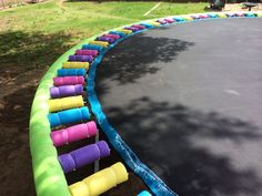 """Get your trampoline Summer Ready in less than 2 hours!! 11 skinny noodles for the springs, 10 big noodles to go around the outside, & a pack of 200 14-inch long zipties... We did this in 2 hours while I had the kiddos scrub the """"winter"""" (you know, the stuff that turns your feet black when you leave it uncovered all winter!!) off the surface with a push broom, the hose & some dishsoap!!"""