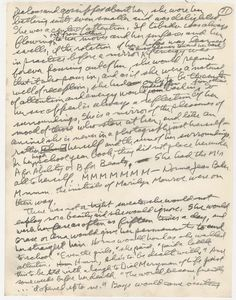 """Handwritten Letter From The Manuscript Of Norman Mailer's Biography 'Marilyn'. """"She would  wash her face as many as fifteen times a day."""""""