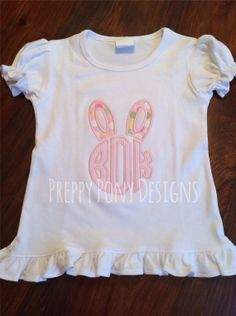Easter Bunny Ears Monogram Shirt by preppyponydesigns on Etsy, $24.00