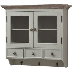 ANTIQUE FRENCH GREY SHABBY CHIC WALL BATHROOM KITCHEN CABINET CUPBOARD (H14665)