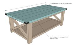DIY Projects Rustic X Coffee Table Woodworking Plans by Ana White Diy Coffee Table Plans, End Table Plans, X Coffee Table, Coffee Tables For Sale, Coffee Table Design, Coffee Zone, White Rustic Coffee Table, Solid Wood Coffee Table, Rustic Table