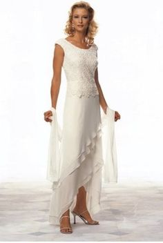 Casual Wedding Dresses For Older Brides. When the princess style is not your own taste, consider a simple dress yourself in a slender A-line design. The great thing about this silhouette is you may be able to find a white or even ivory dress from a special event or bridesmaid line, instead of having to