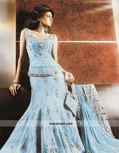 REN'S GIFT #2 - BLUE SHARARA DRESS - New Indian Sharara Designs Collections | Chudidaar - Indian Chudidaar Designs, Indian Churidar Styles
