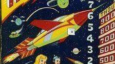 "Detail from backglass of 1958 Gottlieb pinball machine ""Rocket Ship"""