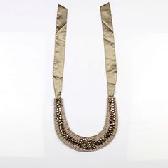 #KUNST Grey #necklace. Beautiful handmade ruffle necklace  made of cotton twill fabric with stone work. #BollywoodandFashion