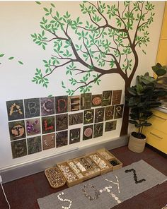 The was a popular addition to our tree wall. The children loved this uppercase n… The was a popular addition to our tree wall. The children loved this uppercase nature alphabet and as soon as they saw it started singing… – Reggio Emilia Classroom, Reggio Inspired Classrooms, Reggio Classroom, Kindergarten Classroom, Reggio Emilia Preschool, Classroom Tree, Montessori Activities, Kindergarten Literacy, Alphabet Activities