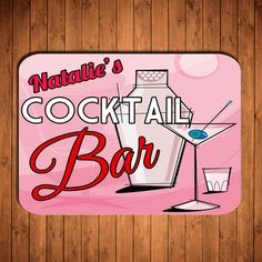 Personalised Wooden Sign Cocktail Bar for Birthday/ Wedding Funky Retro Style available @ www.cinnamonbay.co.uk