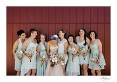 A funny moment between friends. #bridalparty #bridesmaids #weddingdetails #outdoorwedding #manitoba #flowers #funny #red #barn #blfstudios