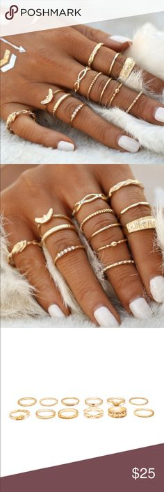 ⭐️Embellished Gold Ring Set All Rings Come In Purchase  Length (inch): 1.9inch/2inch/2inch/2inch/2.1inch Diameter (inch): 0.6inch/0.6inch/0.6inch/0.6inch/0.6inch Material: Metal Shape\pattern: Round Color: Gold Style: Elegant Metal Color: Gold Stone Type: Crystal BUNDLE AND SAVE  MAKE ME AN OFFER Jewelry Rings