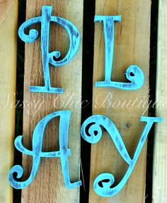 Custom Distressed Wooden Numbers and Symbols - Curlz Font