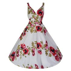 7ba90a8f48 Cream White and Red Poppy Cotton Swing Dress