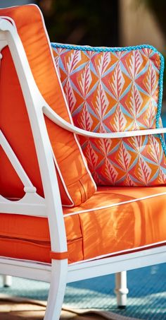 Transform your outdoor living space into a retro oasis of geometric patterns. | Frontgate: Live Beautifully Outdoors